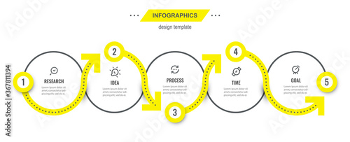 Fotografia Vector Infographic design template with 5 options or steps
