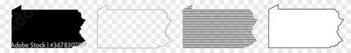 Fotografia Pennsylvania Map Black | State Border | United States | US America | Transparent