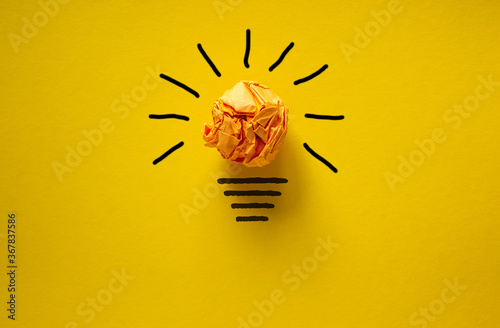 Idea and innovation concept image. Beautiful yellow background.