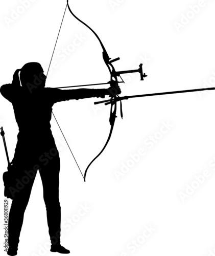 Fotografie, Obraz Female archer aiming with a recurve bow