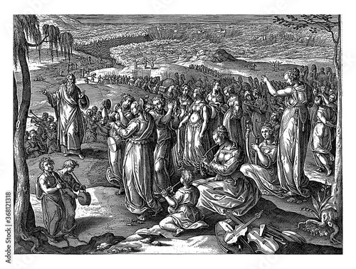Fotografie, Obraz Moses and the Israelites say a song of thanks, vintage illustration