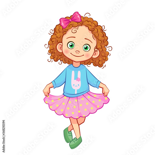 Fotografia Cute curly-haired girl in a curtsy