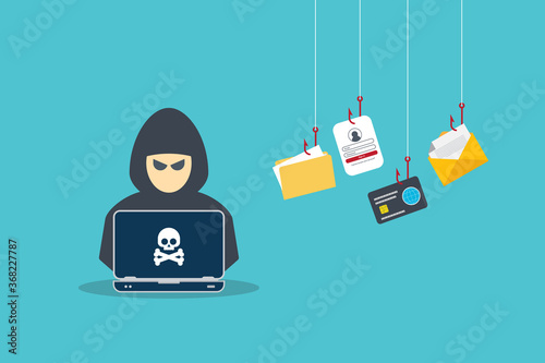 Canvas Hacker with laptop computer stealing confidential data, personal information and credit card detail