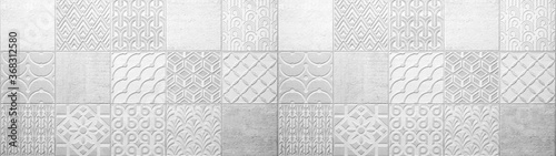 Fotografie, Obraz Gray white bright vintage retro geometric square mosaic motif cement tiles textu
