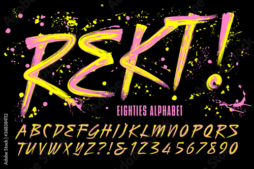Fotografia Rekt! is an 80s Grunge Paint Brush Alphabet with Bright Day-Glow Colors; This Font Includes a Layer of Paint Drips for a Retro Urban Effect