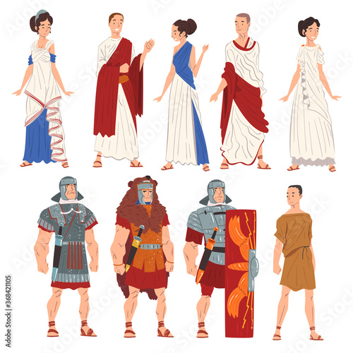 Fotografia Roman Men and Women in Traditional Clothes Collection, Ancient Rome Citizens and
