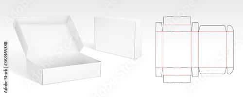 Box With Flip Lid Packaging Die Cut Template