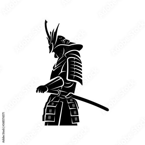 Stampa su Tela Samurai warrior Logo Design Vector