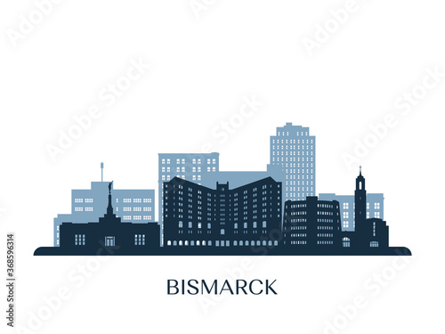 Photo Bismarck skyline, monochrome silhouette. Vector illustration.