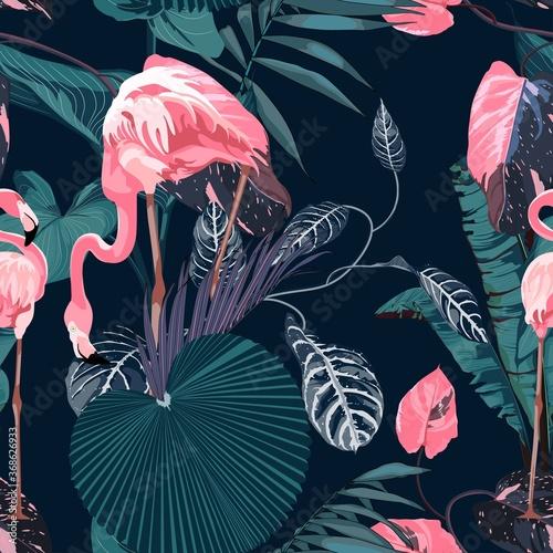 Obraz na płótnie w różowe flamingi
