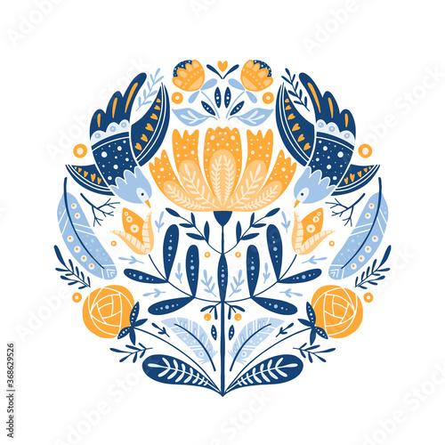Fototapeta Folk art round ornament with birds, roses, and flowers, Scandinavian design