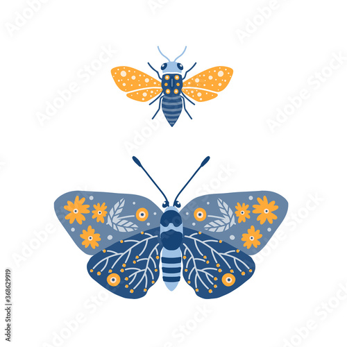Fototapeta Illustration with butterfly and bee