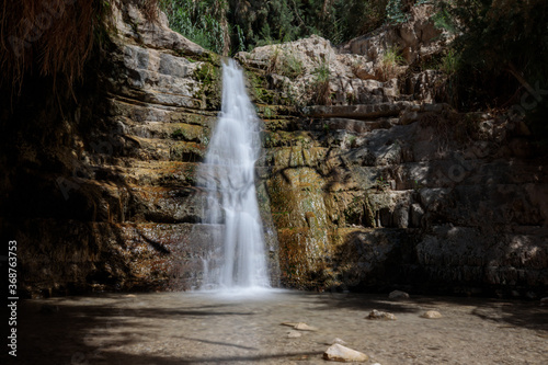Fototapeta Waterfall in the desert – part of the Ein Gedi oasis natural reserve in southern Israel