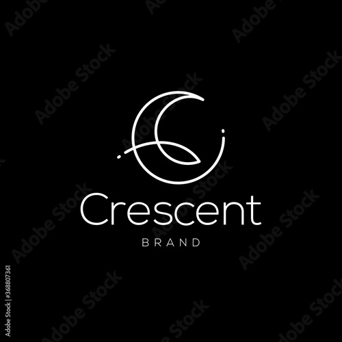 Canvas Print elegant crescent moon and star logo design line icon vector in luxury style outl