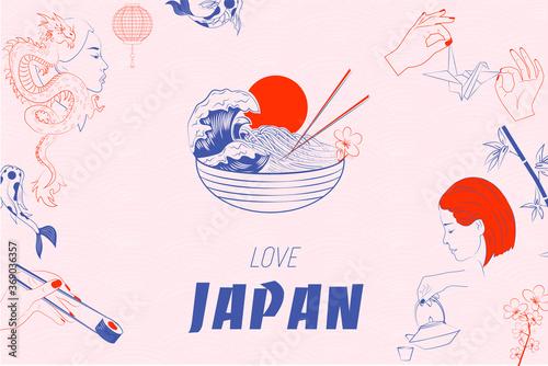 Fotografia, Obraz Love Japan illustration with food, koi fish, sushi and woman portrait