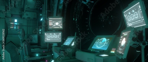 Fotografía Brightly glowing screens of the spacecraft control system
