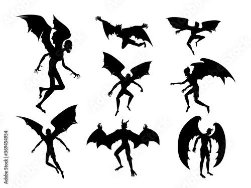 Fototapeta Silhouette bat devil in the human body