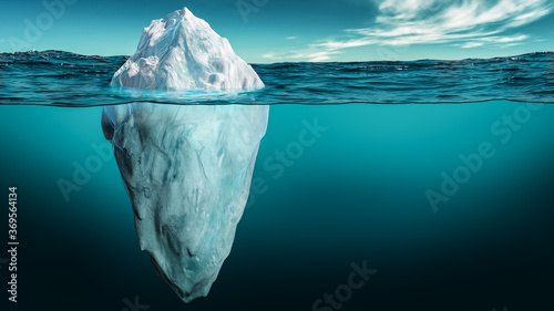 Fotografia Iceberg with its visible and underwater or submerged parts floating in the ocean