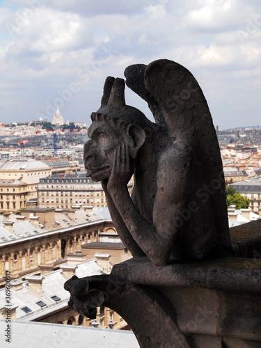 Obraz na plátne Gargoyles Atop Notre Dame in Paris