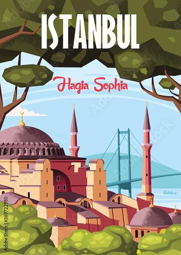 Wallpaper Mural Landmark of Istanbul Hagia Sophia vector illustration