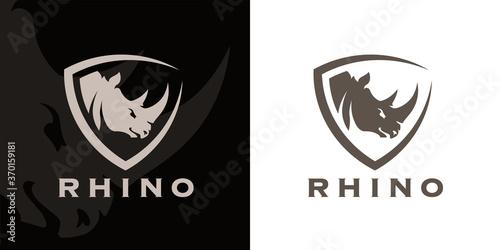 Wallpaper Mural Concept Rhino head and shield company logo icon
