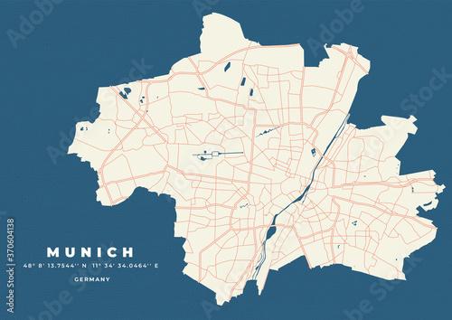Fototapeta premium Munich map vector poster flyer