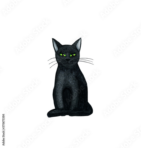 Fotografija Black watercolor cat for Halloween isolated on a white background