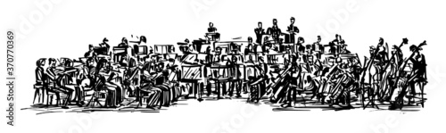 Obraz na płótnie Drawing of the classical musician plays instrument hand draw