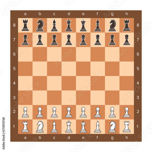 Slika na platnu Chess board with piece setup flat clip art