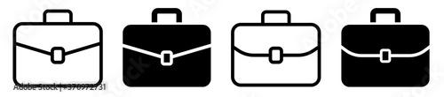 Photo Briefcase icon collection. Different brifecase set. Vector