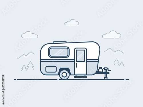 Caravan trailer vector illustrationin monoline / line art style Fototapeta