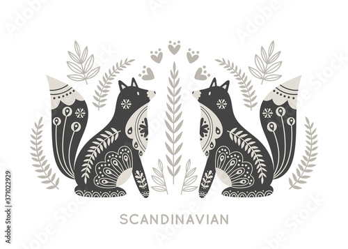 Fototapeta Illustration in scandinavian style with fox and floral elements: flowers, leaves, branches