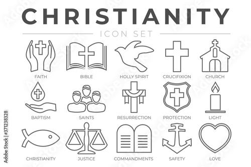 Fotografia Christianity Outline Icon Set with Faith, Bible, Crucifixion , Baptism, Church,
