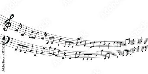 Photographie Music material with musical notes interspersed