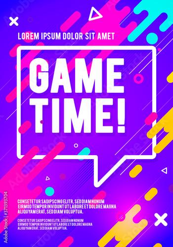 Fotografía Vector Illustration Game Time Player Poster