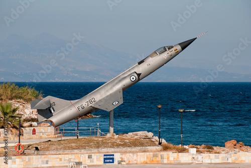 Canvas Print Athens, Greece, August 2020: Retired Lockheed F-104 Starfighter jet