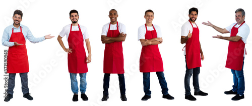 Foto Group of 6 african and latin american and hispanic waiters