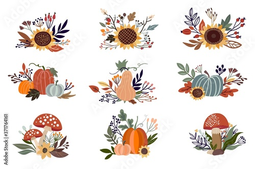 Fotografia Autumn floral arrangements set isolated on white, with pumpkins, sunflowers and