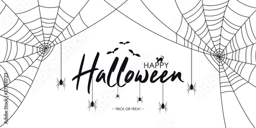Obraz na plátně Happy Halloween text banner with spiders and web, bat and cat