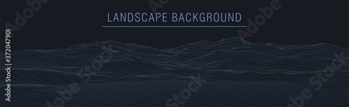 Photo Wireframe 3D landscape mountains