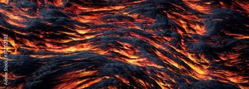 Incandescent lava river.