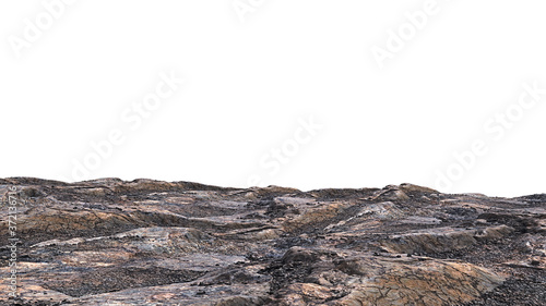 Fotografía rocky cliff isolated on white background, edge of the mountain