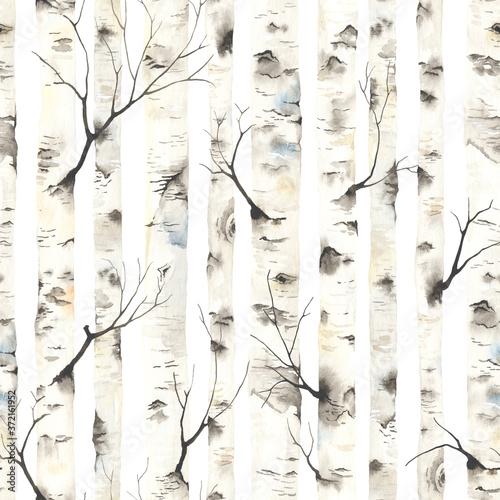 Obraz na płótnie Birch trees with branches, watercolor seamless pattern