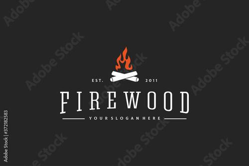 Valokuvatapetti firewood logo design vintage vector