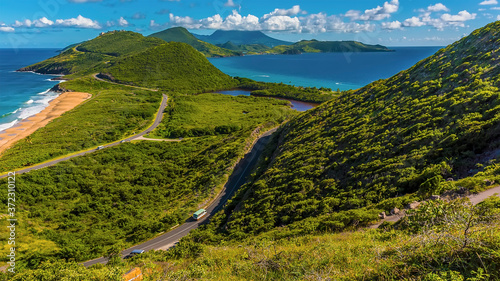 Canvas Print The narrow South Peninsula of St Kitts stretches towards Nevis island between th