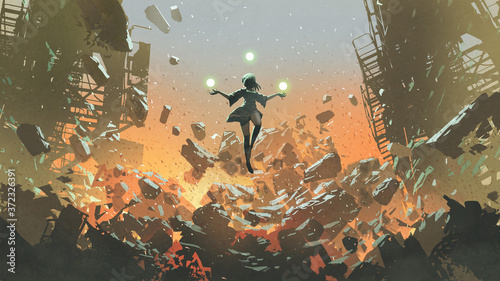 young girl with the magic balls floating above the ruined city, digital art style, illustration painting