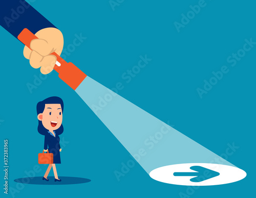 Valokuvatapetti Business leader flashlight uncovering hidden arrow sign