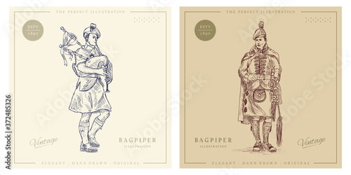 Bagpiper with bagpipes vintage hand drawn illustration Poster Mural XXL