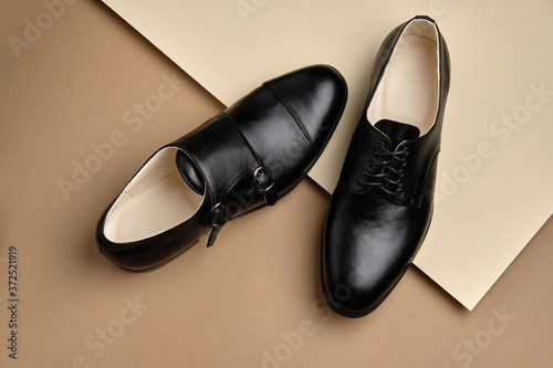Male shoes. Men's fashion leather shoes Monk and Derby Fototapete