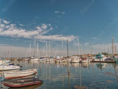 Obraz na plátně Aaroe harbor on the small Danish Island in Southern Jutland